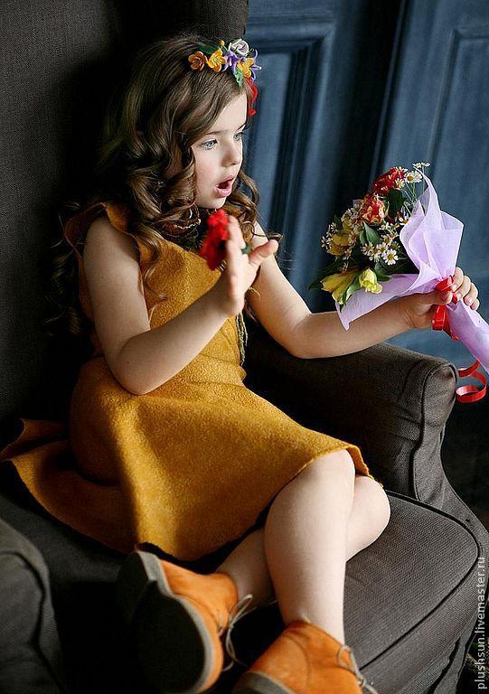 Купить Валяное платье «Beautiful flower» - желтый, солнце, шафран, для детей, для девочек, войлок для детей