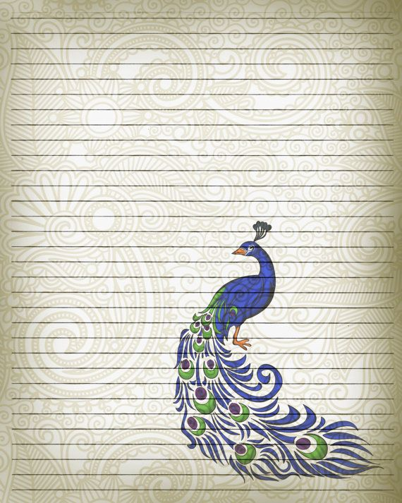 Printable Journal Page Peacock Bird Writing by ...