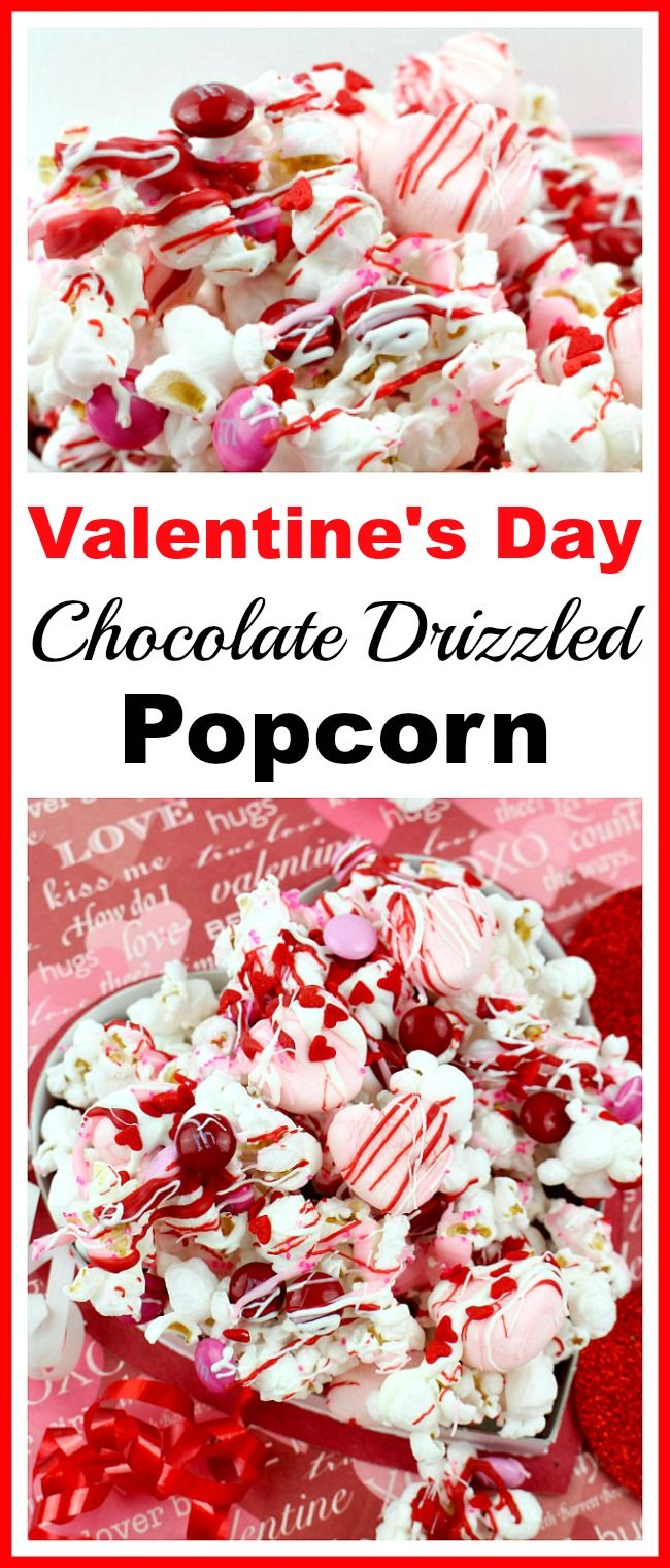 Valentine's Day Chocolate Drizzled Popcorn- This Valentine's Day chocolate drizzled popcorn is a quick and easy no-bake Valentine's treat! It'd also make a great food gift! | dessert, snack, homemade, chocolate, candy, Valentine's food gift, Valentine popcorn with m&m's, Valentine popcorn mix, recipe, pink, red, white