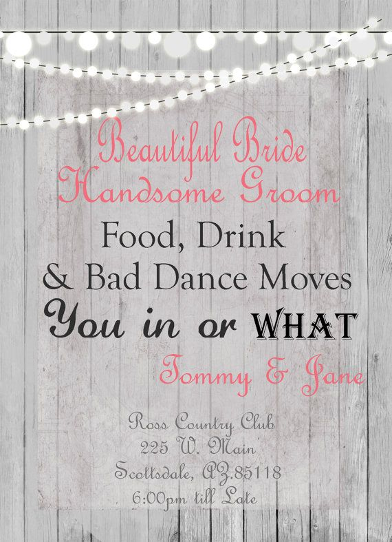 Humorous Wedding Invitation Rustic Lights By WallflowerEvents, $15.00