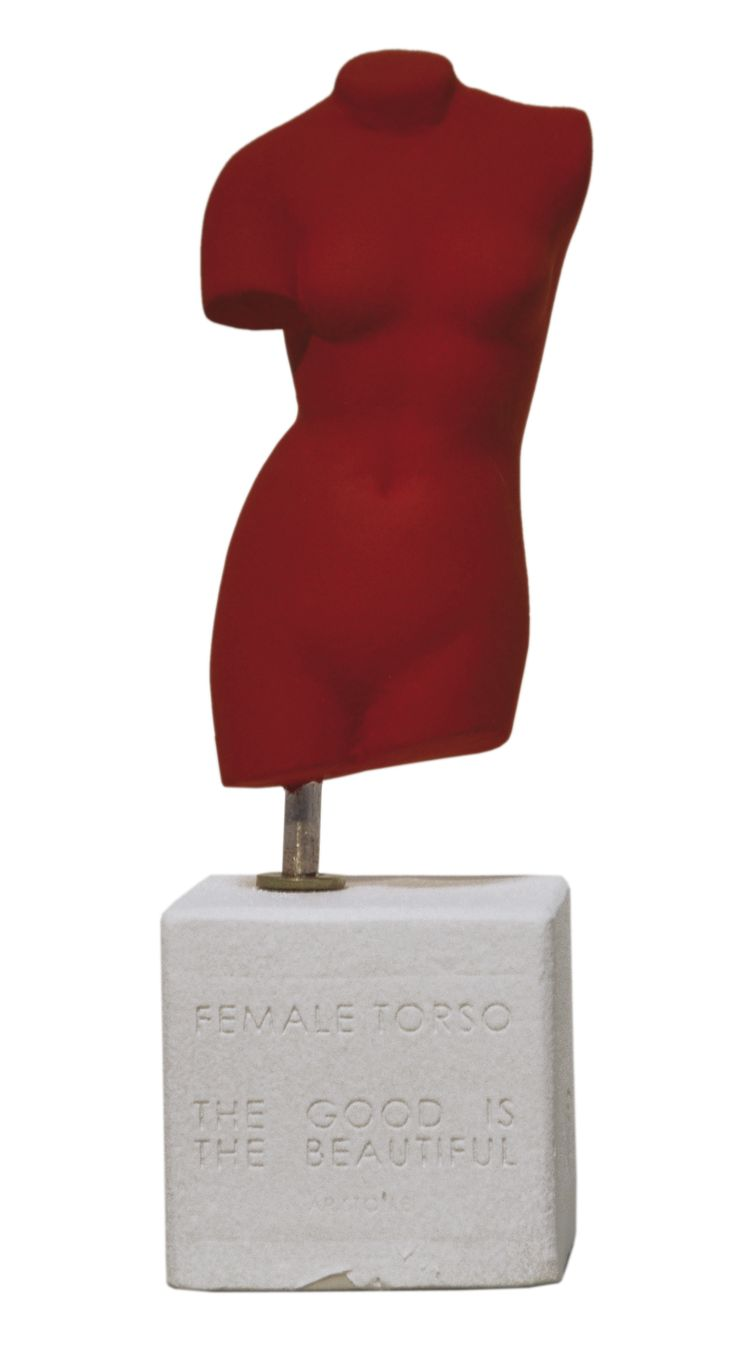 "Female Torso. ""The good is the beautiful.- Aristotle"". Statues. Dimension: 16x7x6cm Material: Ceramine. Color: Deep Red."