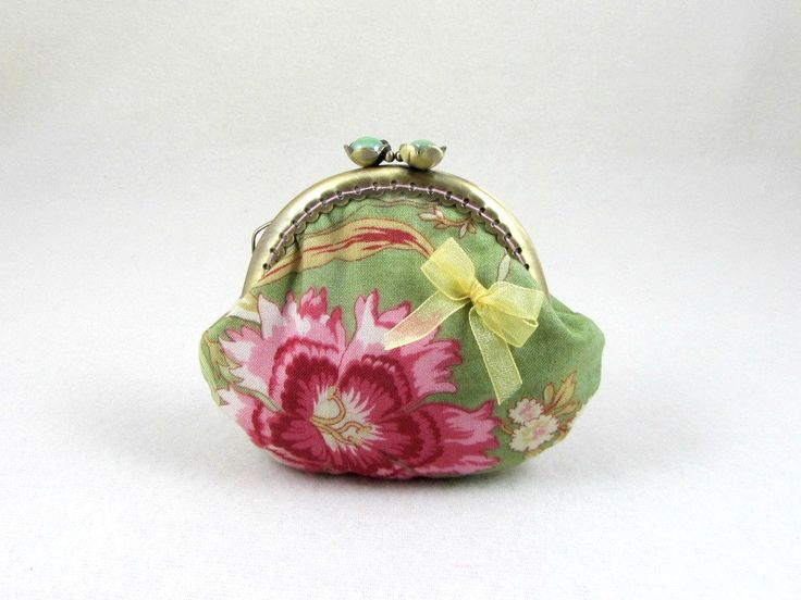 Floral coin purse, handmade pouch, frame purse, pink and green purse, change pouch, stocking filler for her by JRsbags on Etsy