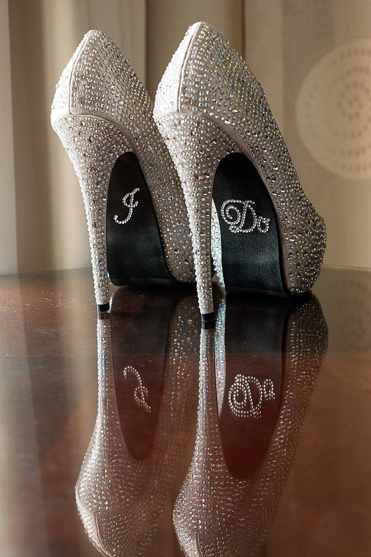 A pair of blinged out heels are sure to stand out.