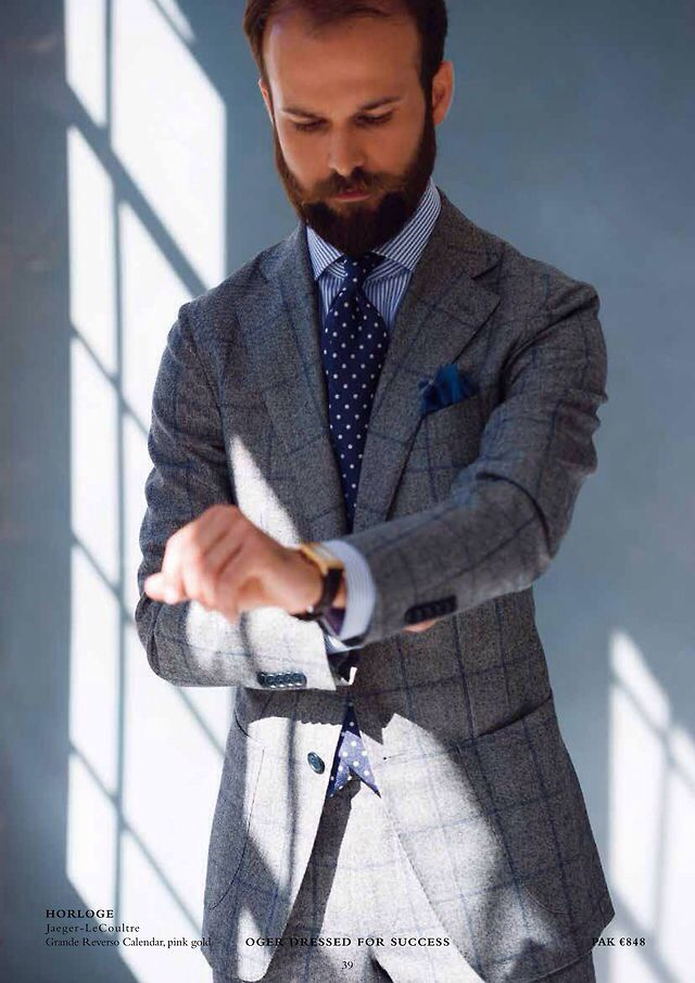 Grey Windowpane Suit Blue Bengal Stripe Shirt Polka Dot