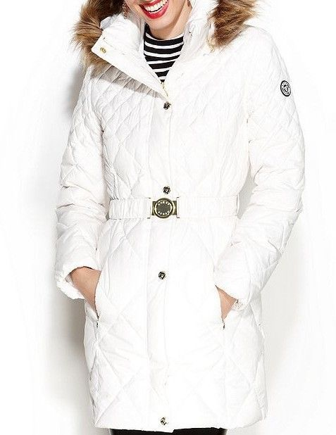 GUESS Coat Hooded Faux Fur Trim Quilted Puffer Jacket ...