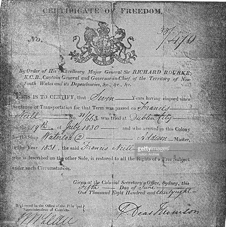This certificate of freedom (commonly referred to as a ticket-of-leave) demonstrates that an Irish convict, Francis Neill, has completed his seven years of obligatory labor in the penal colony of New South Wales, Australia, and is now restored to conditional freedom, June 5, 1838. Typically British and Irish prisoners who could not be held in overcrowded prisons nor executed were sent into exile in Australia or North America where they were forced into labor for a determined period of time…