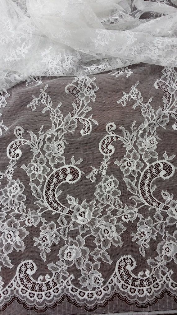 Off White lace fabric by the yard, French Lace, Chantilly Lace, Bridal lace, Wedding Lace White Lace Veil lace Embroidery lace Lingerie Lace