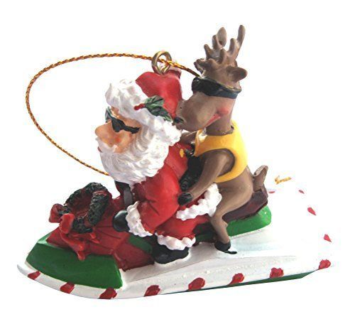 Santa Riding a Jet Ski With Reindeer Christmas Ornaments