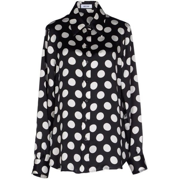 MOSCHINO Shirts ($270) ❤ liked on Polyvore featuring tops, shirts, black, moschino shirt, moschino, long sleeve tops, dot print shirt and dotted shirts