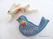 Felt birdie & rabbit brooch