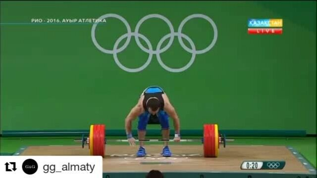 Nijat Rahimov of Kazakhstan winning the mens -77kg Olympic Weightlifting with a new world record lift of 214kg Clean and Jerk. Total score of 379kg. Best celebration of Rio olympics so far. Love that his coach picks him up and the dance.  #olympicgames #olympiclifting #olylift #rio2016 #rioolympics2016 #GOLD