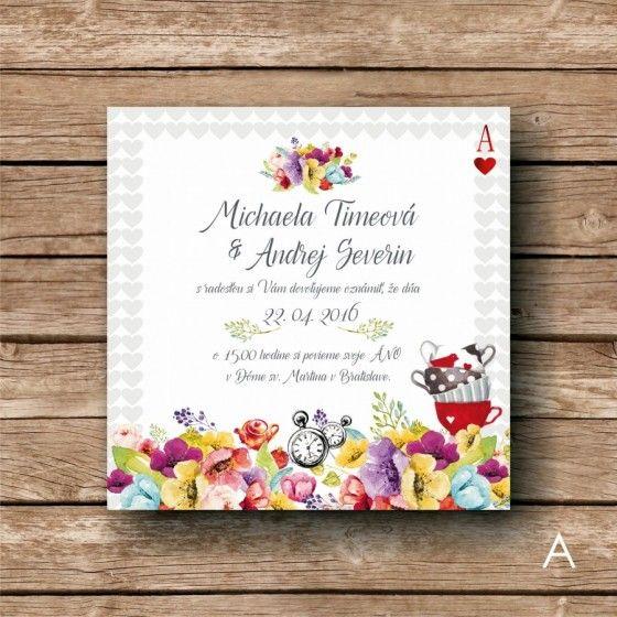 Alice in Wonderland printed wedding invitation