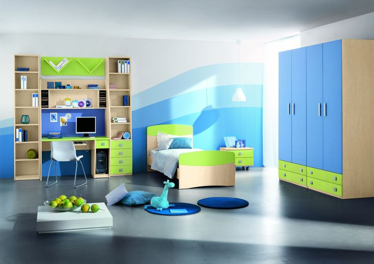 colorful toddler bed | Lime and light blue kids bedroom design with colorful wooden furniture ...