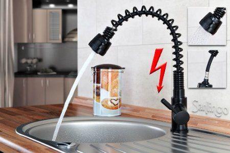 Niederdruck Spültisch Küchen Armatur schönes Design 2 Strahlarten Schwarz Sanlingo: Amazon.de: Baumarkt