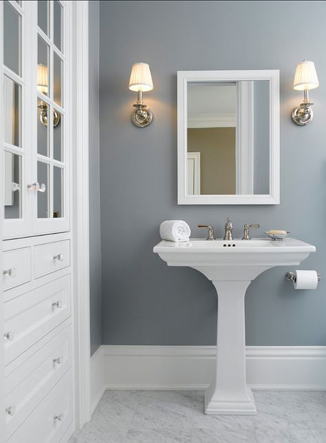 Wall Color is Solitude by Benjamin Moore. Mid tone blue gray.
