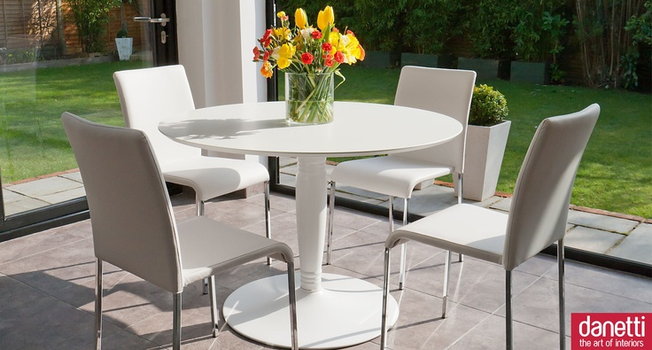 1000 images about danetti dining sets on pinterest dining furniture oval dining tables and - Fabulous white leather dining chairs for modern contemporary appeal ...