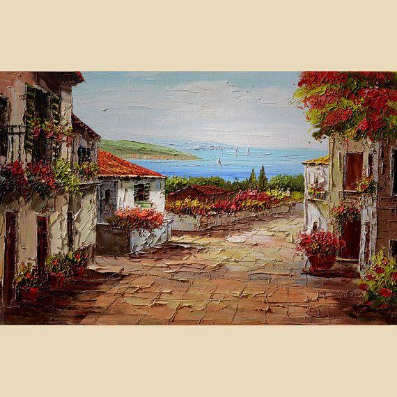 Original Oil Painting large French Flower Village Balcony Shadows Sun Mediterranian Texture Sea Sky Handmade Bright Sunny ART by Marchella