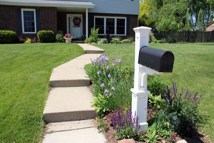 MAILBOX LANDSCAPING | planted some hollyhock roots in this garden around the mailbox last ...