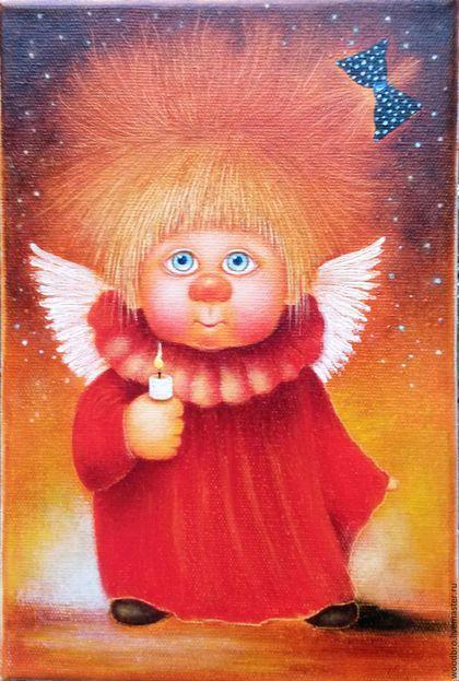 """Люди, ручной работы. Ярмарка Мастеров - ручная работа. Купить """"Ангел несущий свет"""". Картина маслом.. Handmade. Картина в подарок"""