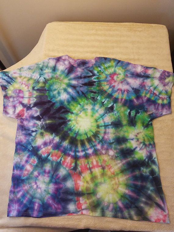 b1702892 Ready to ship! Adult 3X ice dye tshirt. Made on a fruit of the loom tee.  Features multiple spiral swirls with a crazy blend of blues, purples,  pinks, and ...