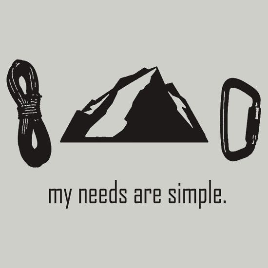 """Simple Needs (Rock Climbing)"" T-Shirts & Hoodies by Anna Nelson 