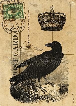 Crow with crown postcard. Journal ephemera.