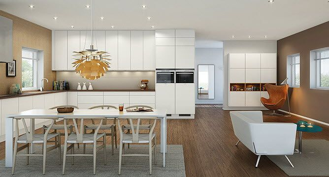 Modern Kitchen Decoration Design With Brown Top White L Shape Kitchen Cabinet Beside The White Dining Table Sets Under Decorative Pendant Lamp
