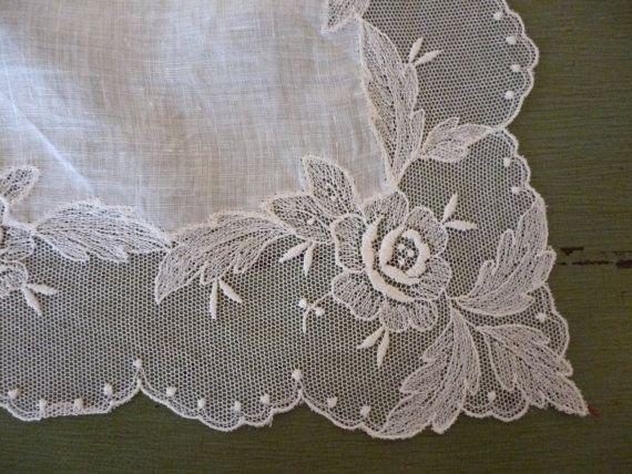 Pañuelo de Novia de encaje Vintage hermoso