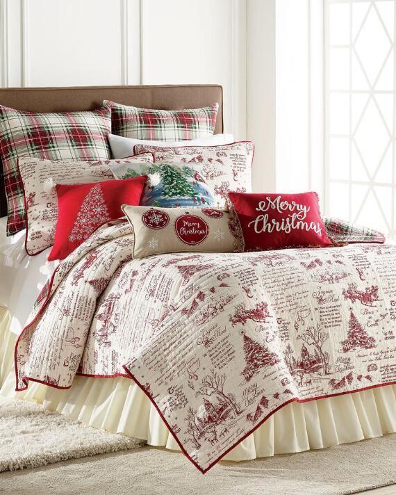 Joyeux Noel Luxury Quilt, Queen Size Holiday Bedding