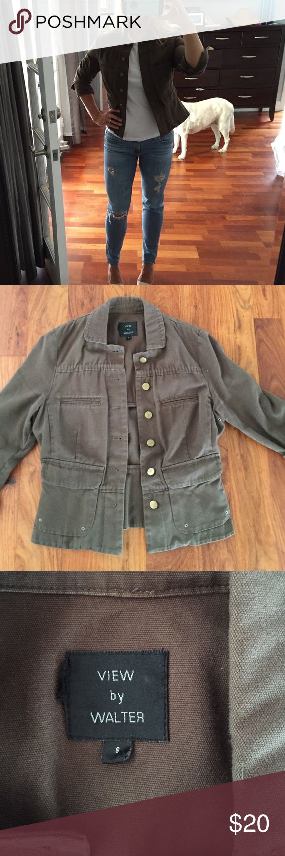 Very flattering jacket - olive green size small Cute olive green jacket with 3/4 length sleeves and peplum back detail.  Size small.  EUC Jackets & Coats