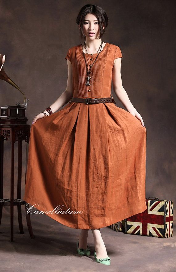 Maxi Linen Dress with Belt in Orange / Cocktail by camelliatune