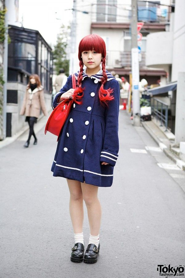 Cute Sailor Coat, Heart Handbag & Loafers in #Harajuku. #tokyofashion