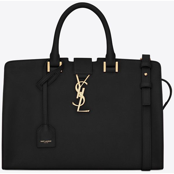 Small Monogram Saint Laurent Cabas Bag (£1,390) ❤ liked on Polyvore featuring bags, handbags, shoulder bags, shoulder strap bag, leather handbags, pocket purse, zipper purse et monogrammed purses