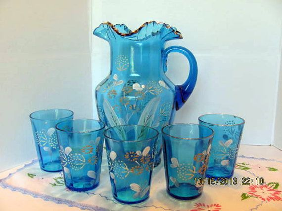 Victorian Era Pitcher with 5 Matching Glasses, Hand Painted, Hand Blown Lemonade Set