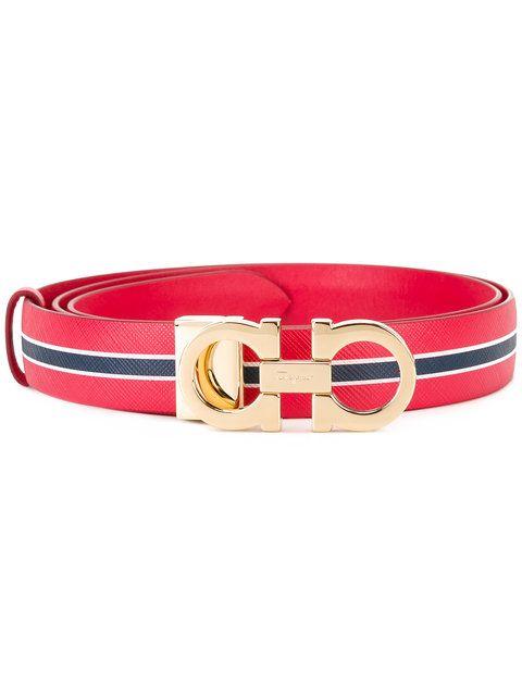 Shop Salvatore Ferragamo striped belt.