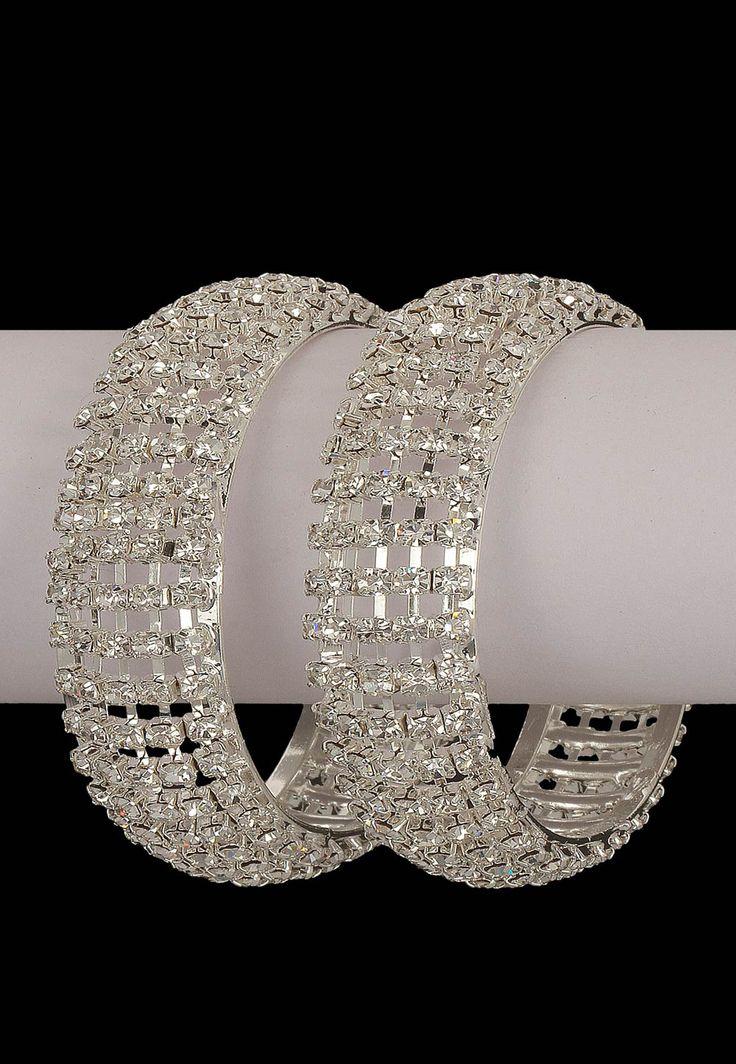 #White Stone Studded #Bangles @ $22.73