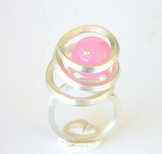 Silver cocktail ring pink stone ring bridesmaid gift by craftysou, $34.99