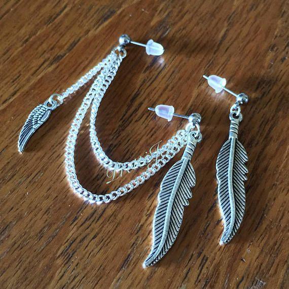 Wing & Feathers Double Piercing Earrings