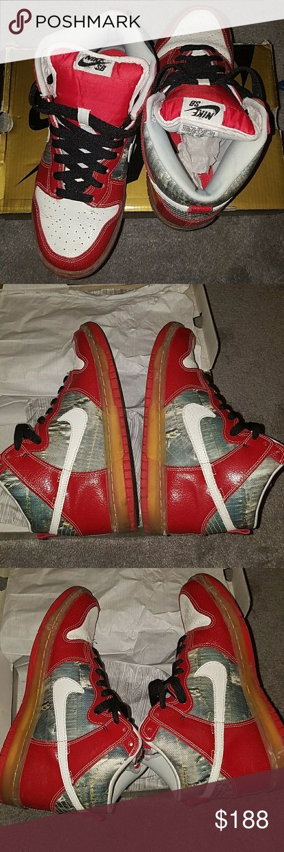 """Nike dunks """"Shoe Goo"""" 100% authentic with original box, paper lining,and  extra laces( 1. Yellow 2. Reversable red and white 3. Black)  These have only been worn 3 times. Tattered look is part of the shoe design. These dunks are super comfortable and show very low to no  signs of wear. Its in great condition, no if's, and's or but's. Serious buyers only! Nike  Shoes Sneakers"""