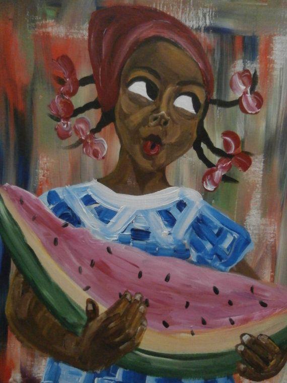 Original African American Black art painting by by Valenciaart, $179.99