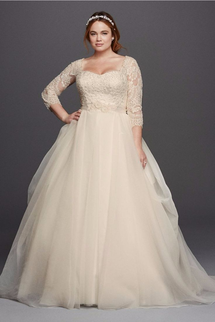Girl with Curves featuring plus size organza and lace ballgown from David's Bridal