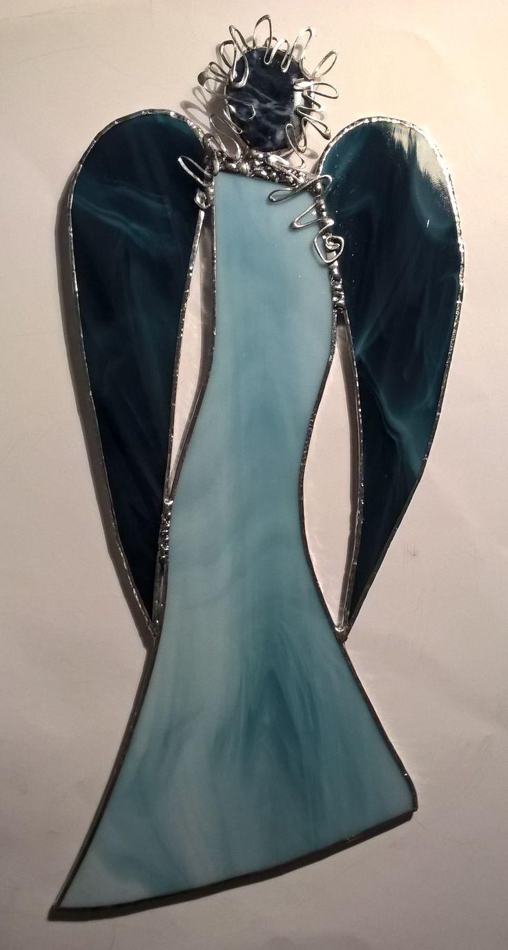 Blue stained glass angel modrý tiffany anděl 2