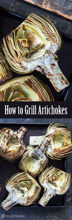 Grilled Artichokes are the BEST! Artichoke halves, steamed first, then infused with herbed oil and grilled until smoky and tender. Delicious! On SimplyRecipes.com #MemorialDay