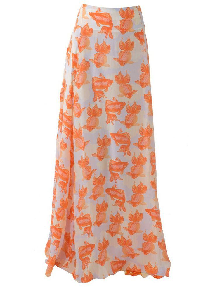 Gold fish print maxi skirt.
