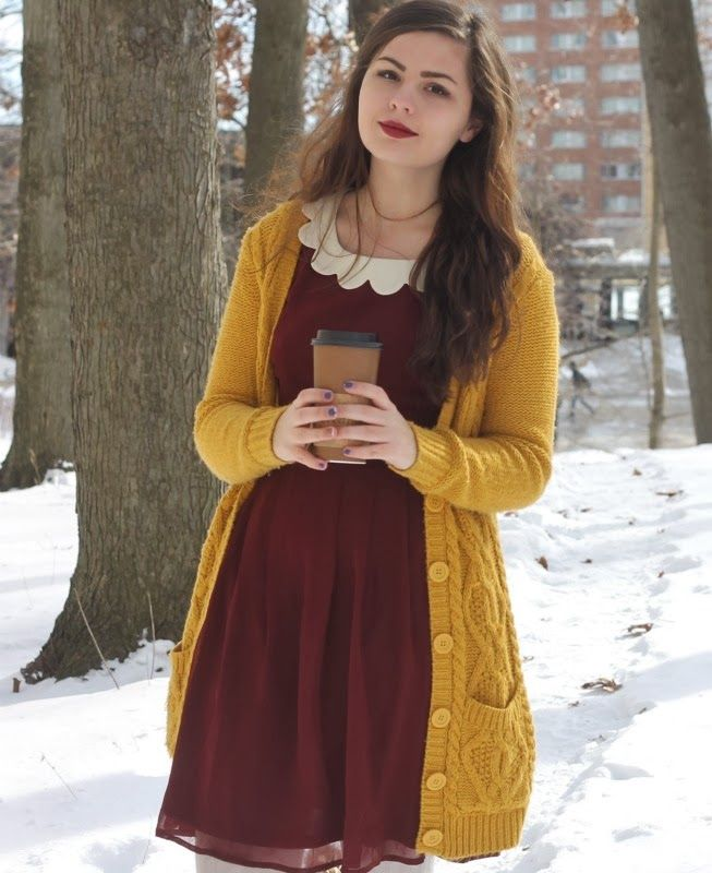 THAT DRESS COLOR !! LOVE IT This cardigan is everything. Length is great, it's nice and chunky, long sleeves, pockets. I want it! The dress is nice too, Peter pan collar and the color is great. -Jessy W.