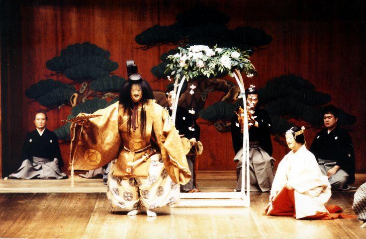 noh theater performance at the Ohtsuki Noh theatre, Osaka Japan
