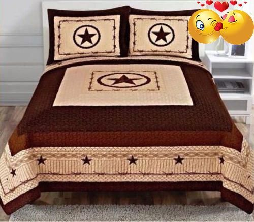 #pillowcases #Western Style 3Pc Quilt Bedspread Comforter Set Star Oversized King Beautiful Star Design King Quilt Featuring Colors of Beige and Brown Back Side ...