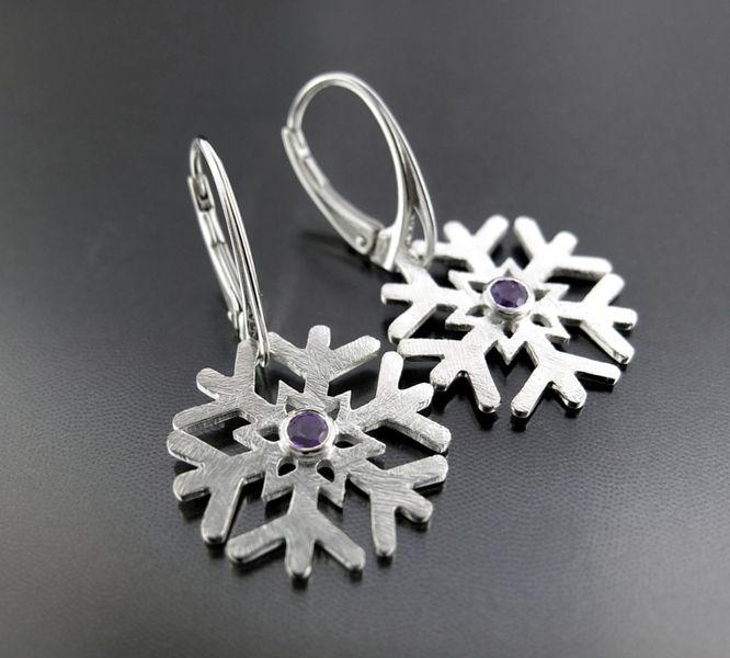 """BIZOE 925 silver earrings snowflakes with amethist - srebrne kolczyki """"ŚNIEŻYNKI"""" z ametystami w BIZOE na DaWanda.com"""