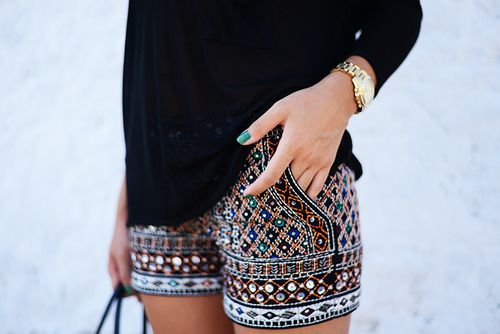 I love these shorts, especially with a simple black top.  Simple with a twist of fun and loud colors.