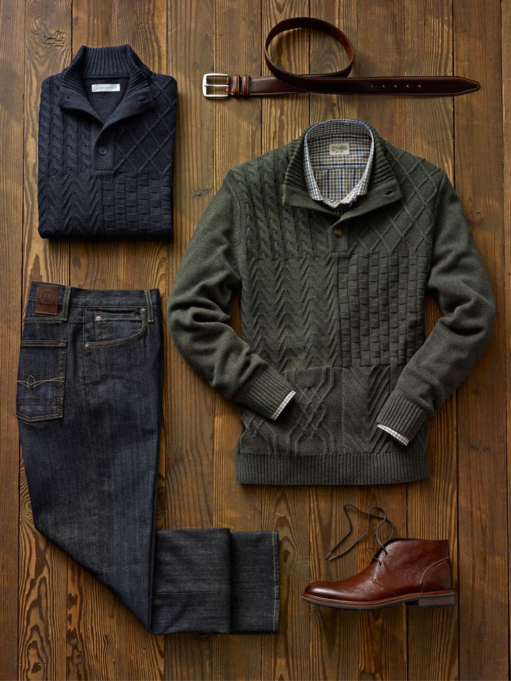 These 3 button mock style pullovers offer a distinct block pattern that adds some personality to your sweater collection.